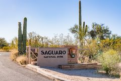 Saguaro National Park Entrance Sign. TUCSON, AZ - OCTOBER 26, 2017: Entrance sign to Saguaro National Park in Arizona Stock Photos