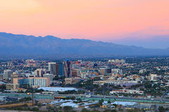 The Tucson city center at twilight Royalty Free Stock Image
