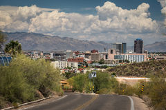 Tucson Downtown from road to Sentinel Peak Stock Images