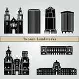 Tucson landmarks and monuments. On blue background in editable vector file Royalty Free Stock Photo
