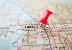 Tucson map pin. Closeup of Tucson Arizona map with red pin royalty free stock photos
