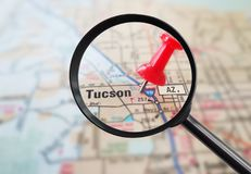 Tucson map pin. Magnified closeup of Tucson Arizona map with red pin stock photo