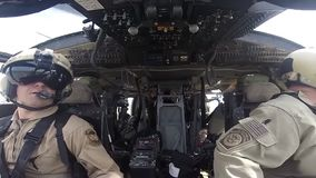 TUCSON, MARCH 2016, Shot of Pilots of a Border Patrol helicopter. stock video footage