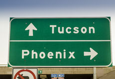Tucson, Phoenix, Arizona highway road sign USA Royalty Free Stock Photo