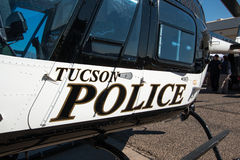 Tucson Police Patrol Helicopter. A black and white Tucson, Arizona, police helicopter Royalty Free Stock Photos