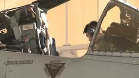 TUCSON USA, JANUARY 2016, Close Up US Air Force Pilot Exit A-10 Thunderbolt Cockpit. The Pilot of a A-10 Thunderbolt aircraft exit his cockpit at a airbase stock footage