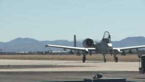 TUCSON USA, JANUARY 2016, US Air Force A A-10 Thunderbolt Aircraft Roll Along Airfield stock footage