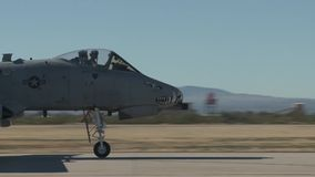 TUCSON USA, JANUARY 2016, US Air Force A-10 Thunderbolt Aircraft Roll Over Airfield stock video footage