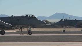 TUCSON USA, JANUARY 2016, US Air Force A A-10 Thunderbolt Aircraft Roll Park Position. A A-10 Thunderbolt aircraft roll to their parking position stock video footage
