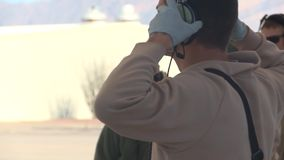 TUCSON USA, JANUARY 2016, US Soldier Don Headphone stock video