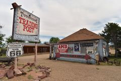 Tucumcari, New Mexico, de V.S., 25 April, 2017: Spookstad van gedetailleerde Tucumcari royalty-vrije stock afbeeldingen