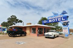 Tucumcari, New Mexiko, USA, am 25. April 2017: Altes Motel auf Route 66 lizenzfreie stockfotos