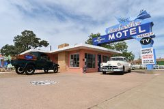 Tucumcari, New Mexiko, USA, am 25. April 2017: Altes Motel auf Route 66 lizenzfreie stockbilder
