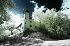 Tuczno Castle. In Poland. The infrared image stock images
