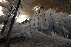 Tuczno Castle in Poland. The infrared image royalty free stock photos