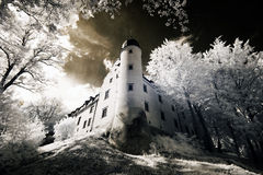 Tuczno Castle in Poland. The infrared image royalty free stock image