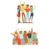 Tudent Friends From All Around The World And Happy International Friendship Vector Cartoon Illustration Royalty Free Stock Image