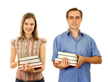 Ыtudents with books. Isolated on white. Stock Photos