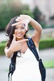 Étudiant universitaire asiatique effectuant une trame Photo stock