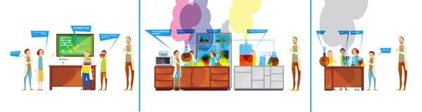 Étudiants en bandes dessinées chimiques de laboratoire Photos libres de droits