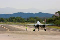 TUDM Sukhoi SU-30MKM taxiing down the runway. SUBANG, MALAYSIA - OCTOBER 3: The TUDM Sukhoi SU-30MKM taxiing down the runway for take off at the Thunderbirds royalty free stock photo