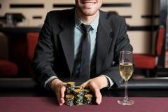 Tudo dentro durante um jogo de pôquer Imagens de Stock