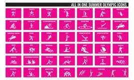 Tudo em ícones olímpicos de um esporte do verão Fotos de Stock Royalty Free