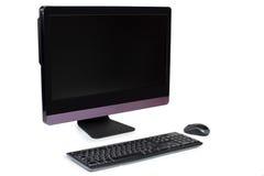 Tudo em um computador de secretária isolado no branco Imagens de Stock Royalty Free