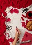 Tudo para costurar - tela, testes padrões e acessórios costurar Fashio Foto de Stock