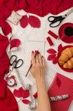 Tudo para costurar - tela, testes padrões e acessórios costurar Fashio Imagem de Stock