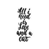 Tudo que eu preciso é amor e um gato - citações de dança tiradas mão da rotulação isolado ilustração royalty free