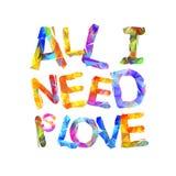 Tudo que eu preciso é amor Letras triangulares Imagem de Stock