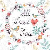 Tudo que eu preciso é você conceito do amor Fotografia de Stock Royalty Free