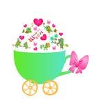 Tudo que você precisa é amor Cartão bonito com copo, corações e pássaros Foto de Stock Royalty Free