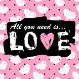Tudo que você precisa é cópia e slogan do vintage do amor Teste padrão sem emenda Foto de Stock Royalty Free