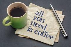 Tudo que você precisa é o café - guardanapo com café Imagens de Stock Royalty Free