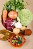 Tudo que você precisa para a sopa italiana típica do minestrone imagens de stock