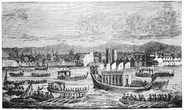 Tudor barges on the Thames River in London. Engraving of barges on the Thames River in London, during the reign of Elizabeth I. From Elizabeth, by Jacob Abbott Royalty Free Stock Image