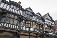 Tudor Black and White Building. Old black and white tudor building in Chester England showing leaded windows Royalty Free Stock Image