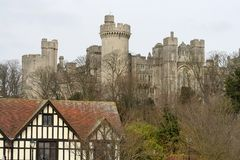 Tudor building and Arundel castle Royalty Free Stock Photo
