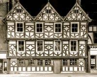 Tudor building at Longsmith Street by night Stock Image