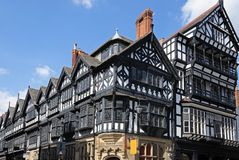 Tudor buildings, Chester. Tudor buildings on the corner of Eastgate Street and St Werburgh Street, Chester, Cheshire, England, UK, Western Europe royalty free stock photo