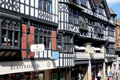 Tudor buildings with shops, Chester. Tudor shops and buildings along Eastgate Street, Chester, Cheshire, England, UK, Western Europe Stock Photography