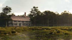 Tudor or Elizabethan Manor House. Half-timbered traditional English late medieval, Elizabethan or Tudor manor house overlooking a small pond, 3d digitally Royalty Free Stock Images
