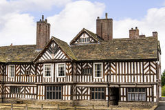 The Tudor Façade, extensive gardens and grounds of Adlington Hall in Cheshire. Adlington Hall is a country house near Adlington, Cheshire. The oldest part of stock images