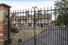 The Tudor Façade, extensive gardens and grounds of Adlington Hall in Cheshire. Adlington Hall is a country house near Adlington, Cheshire. The oldest part of royalty free stock image