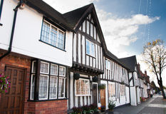Tudor Homes. Traditionally built timber framed Tudor homes on a street in the historic town of Warwick, Great Britain Royalty Free Stock Photography