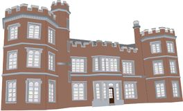 Tudor Manor House. A Red Sandstone English Manor House from the Sixteenth Century with Battlements,Towers and Leaded Glass Windows isolated on White Stock Photo
