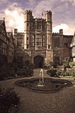 Coughton Court Tudor Mansion, Warwickshire. The Tudor mansion of Coughton Court pronounced Coat-un wasand still is the home of the Throckmorton family and Stock Images