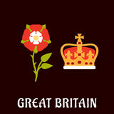Tudor rose and crown of Great Britain. National heraldry symbols of Great Britain in flat style with Tudor rose and coronation st Edwards crown on burgundy Stock Images